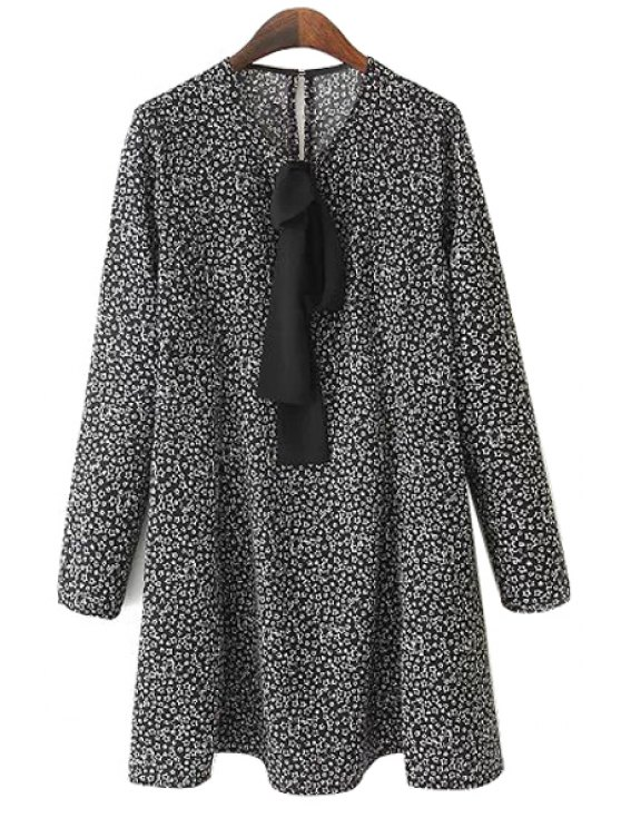 chic Tiny Star Print Long Sleeve Dress - COLORMIX S