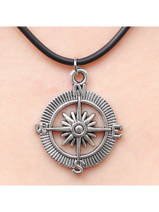 shops Stylish Women's Compass Pendant Necklace - SILVER