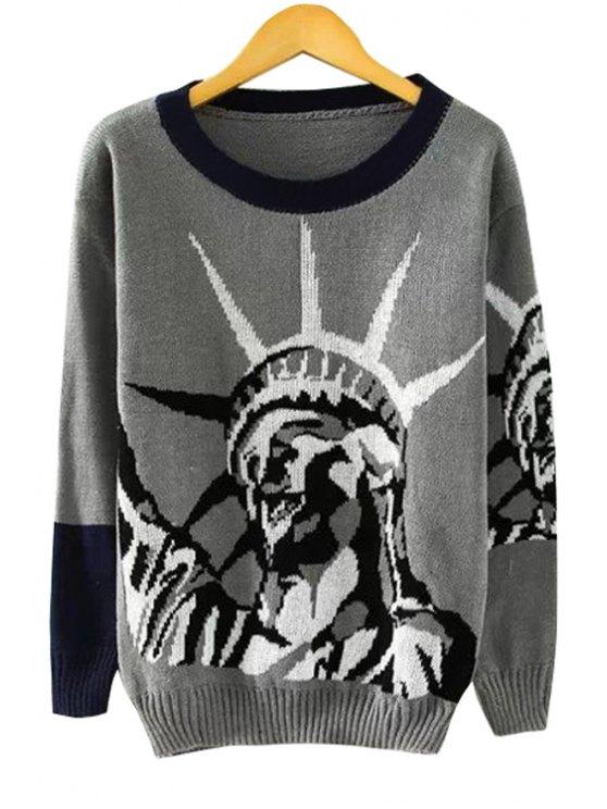 sale Statue Pattern Long Sleeve Sweater - GRAY S