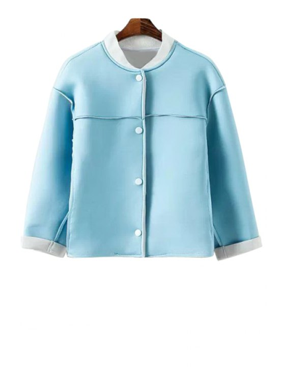 outfits Color Block 3/4 Sleeve Jacket - BLUE S
