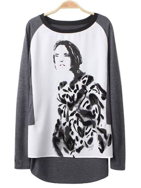 trendy Figure Print Long Sleeve T-Shirt - GRAY S
