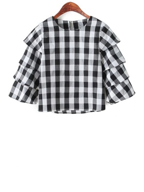 buy Checked Pattern 3/4 Sleeve Blouse - BLACK S