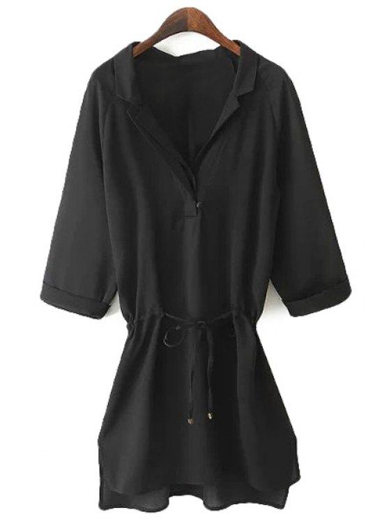 hot Black 3/4 Sleeve Drawstring Shirt - BLACK S