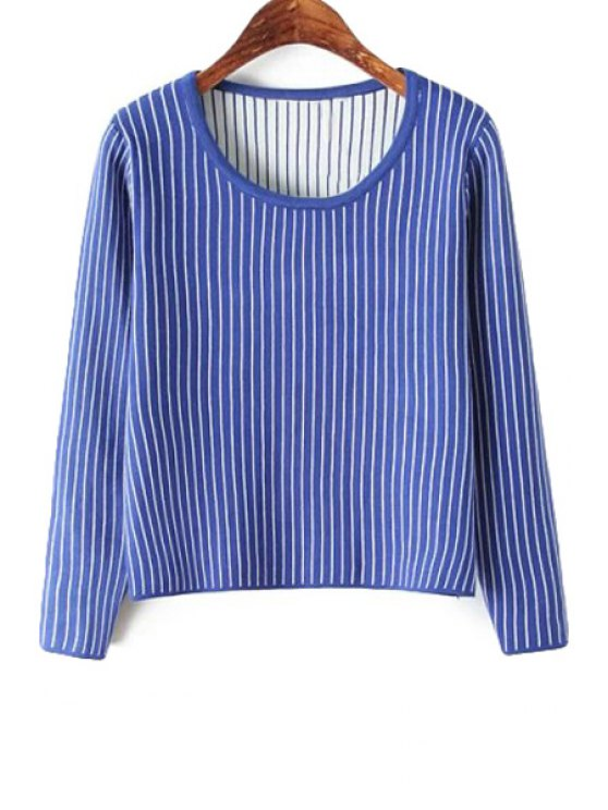 lady Scoop Neck Striped Sweater - SAPPHIRE BLUE ONE SIZE(FIT SIZE XS TO M)