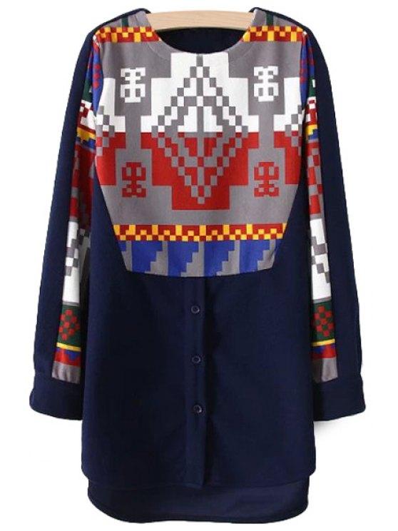 outfit Geometric Pattern Worsted Sweatshirt - PURPLISH BLUE M