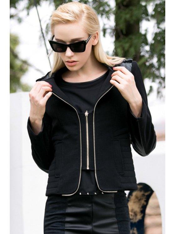 hot Long Sleeve PU Leather Splicing Jacket - BLACK S
