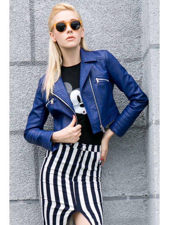 chic Blue PU Leather Lapel Jacket - SAPPHIRE BLUE S