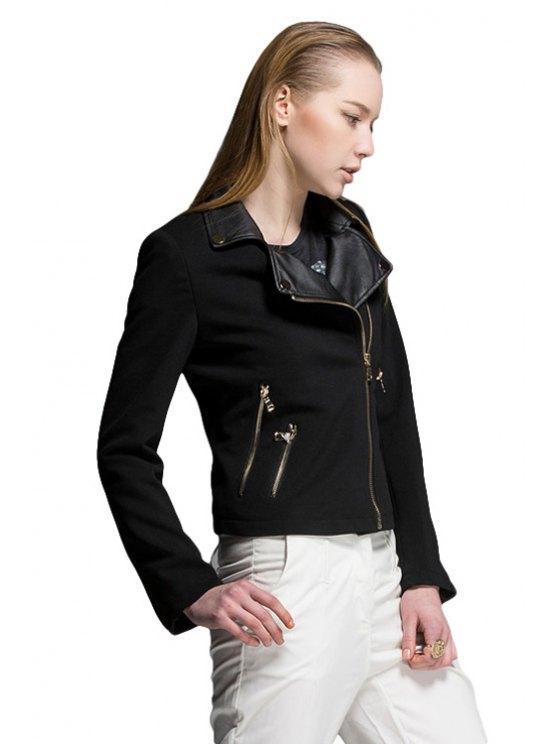 ladies PU Leather Lapel Black Jacket - BLACK S