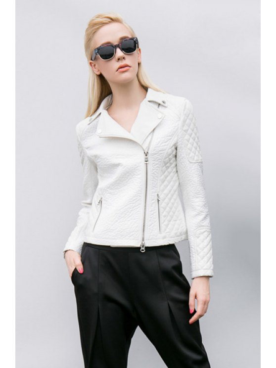 outfit Lapel White PU Leather Jacket - WHITE S