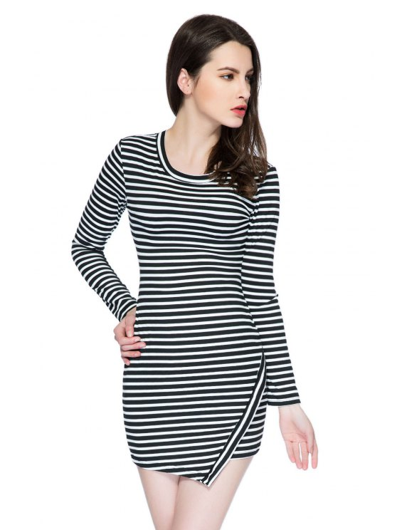 women Striped Long Sleeve Bodycon Dress - STRIPE XS