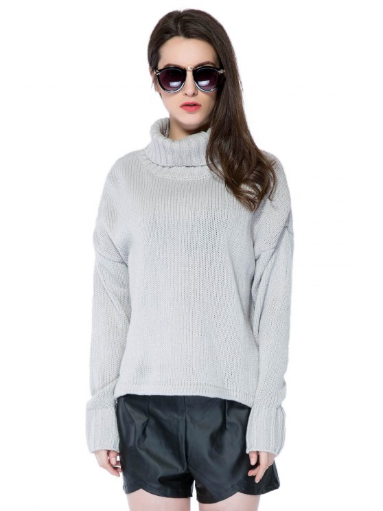 fancy Turtle Neck Solid Color Sweater - GRAY XS