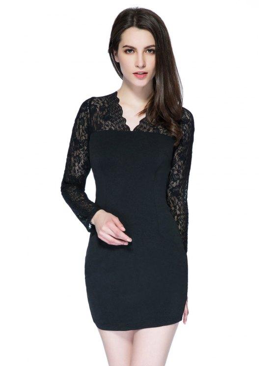 unique V-Neck Lace Splicing Bodycon Dress - BLACK XS