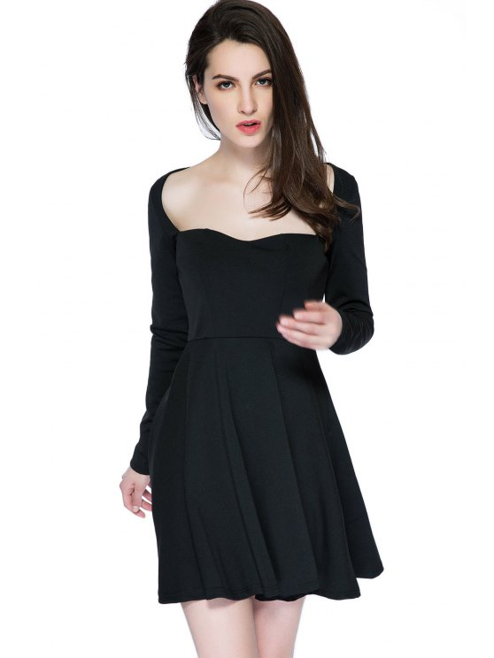 women's Black Long Sleeve Backless Dress - BLACK XS