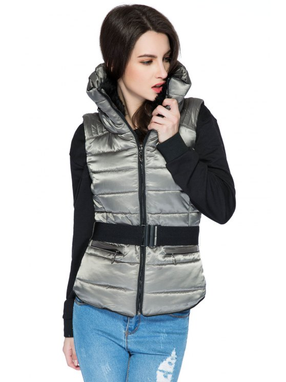 women Faux Fur Stand Collar Belt Waistcoat - GRAY S