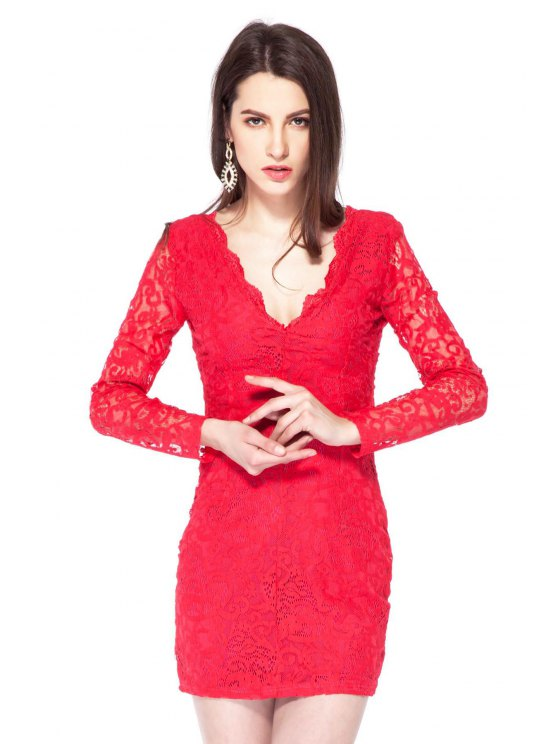 affordable Plunging Neck Lace Bodycon Dress - RED XS