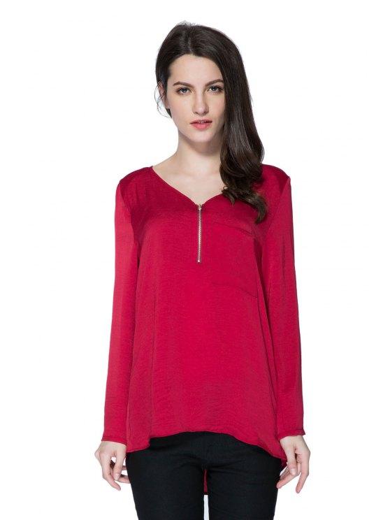 outfits Pocket V-Neck Zipper Embellished Blouse - WINE RED S