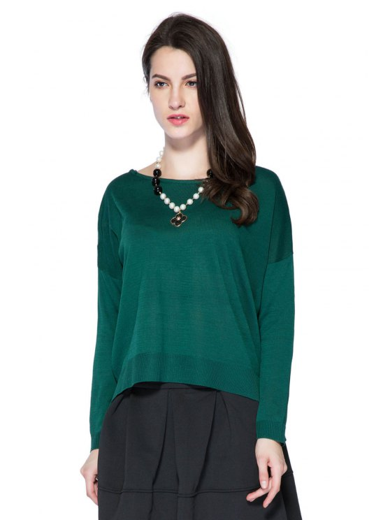 womens High-low Hem Solid Color Sweater - GREEN ONE SIZE(FIT SIZE XS TO M)