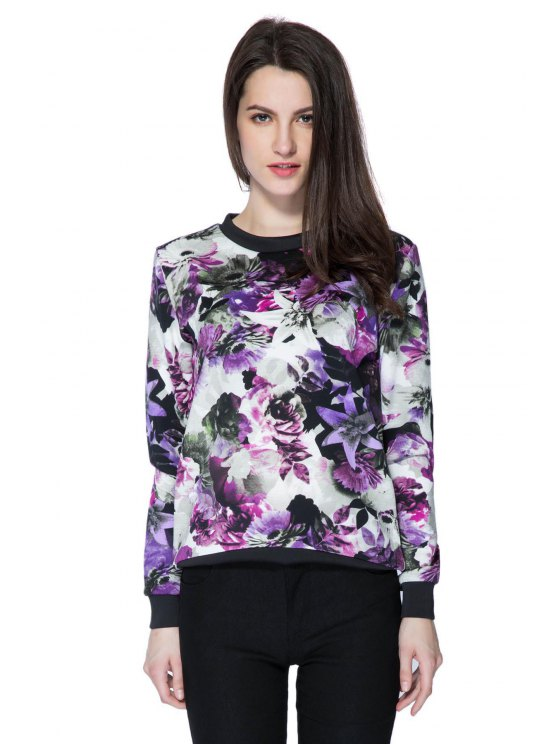 womens Ink Floral Long Sleeve Sweatshirt - COLORMIX S