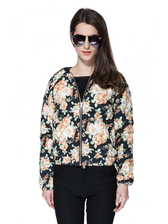 hot Floral Long Sleeve Quilting Jacket - COLORMIX S