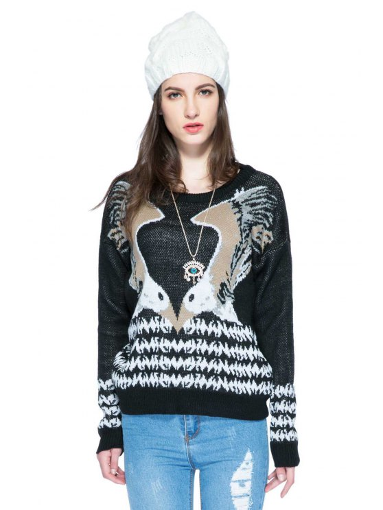 ladies Eagle Pattern Scoop Collar Sweater - BLACK M