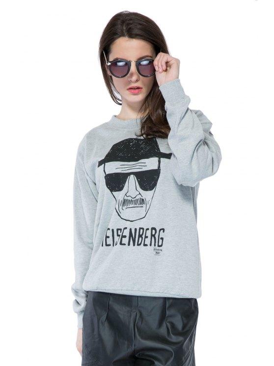 Portrait Imprimer longue Sleeve Sweatshirt - Gris M