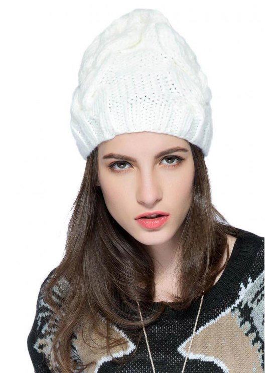 buy Solid Color Knitted Hat - WHITE S
