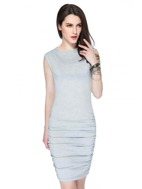 womens Solid Color Sleeveless Ruched Dress - GRAY XS
