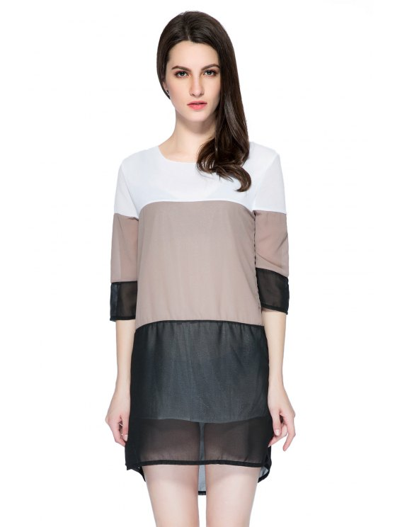 sale 3/4 Sleeve Color Block Skirt - COLORMIX S