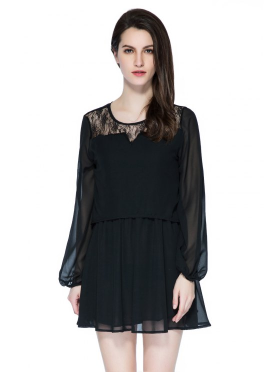 women Lace Splicing Long Sleeve Skit Dress - BLACK S