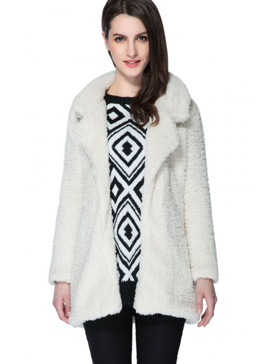 buy Lamb Wool Long Sleeve Solid Color Coat - APRICOT S