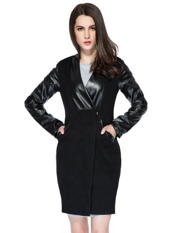 new Faux Leather Splicing V-Neck Coat - BLACK S