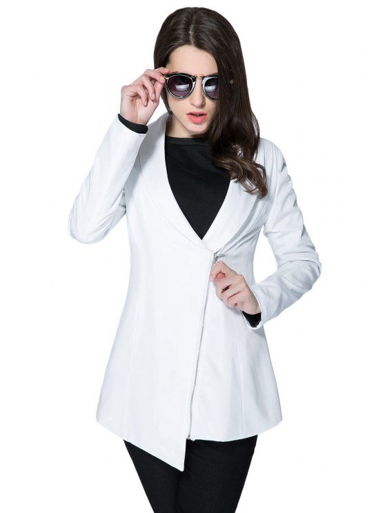 womens Solid Color Plunging Neck Zipper Coat - WHITE S