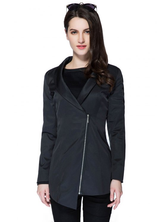 outfit Solid Color Plunging Neck Zipper Coat - BLACK M