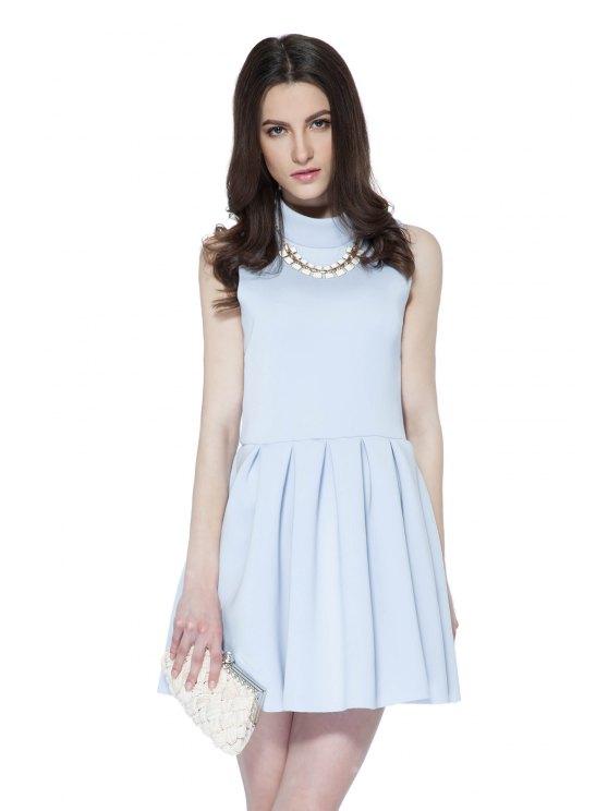 shops Solid Color Sleeveless Flouncing Dress - LIGHT PURPLE XS
