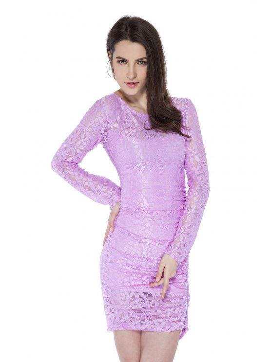 trendy Solid Color Long Sleeve Zipper Dress - PINK XL