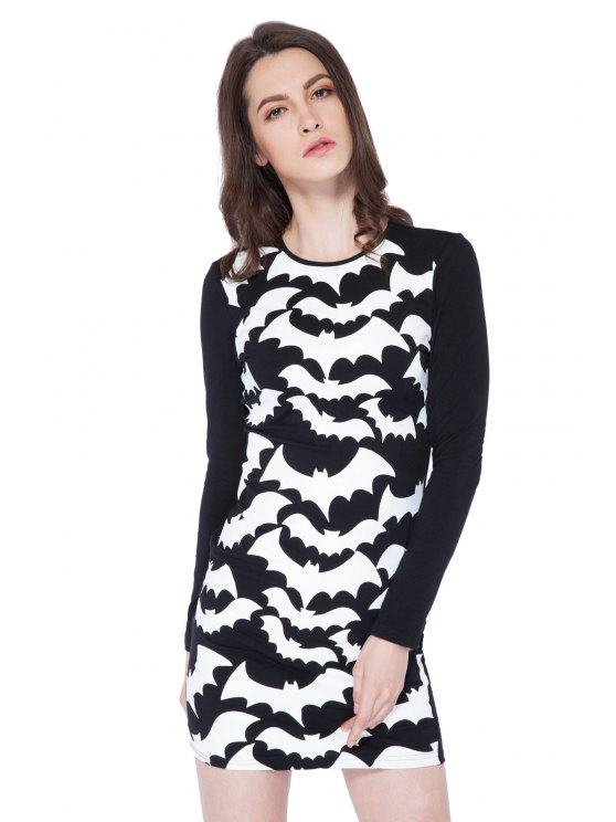 womens Abstract Print Long Sleeve Dress - BLACK XS