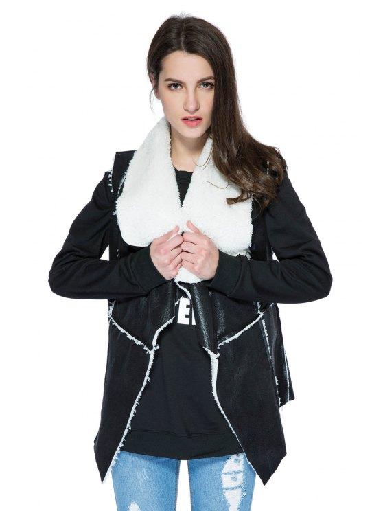 fancy Lamb Wool Splicing Waistcoat - BLACK S