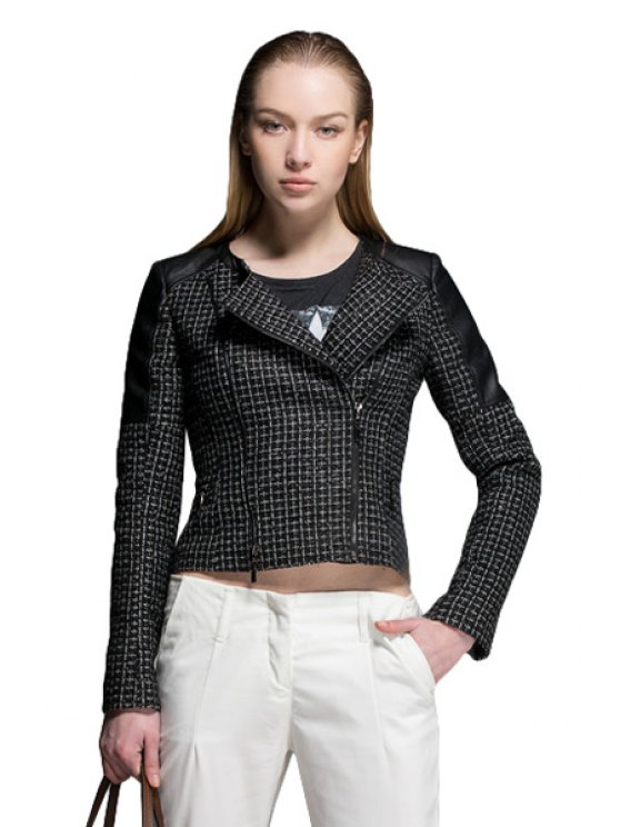shop Checked PU Leather Splicing Jacket - BLACK S