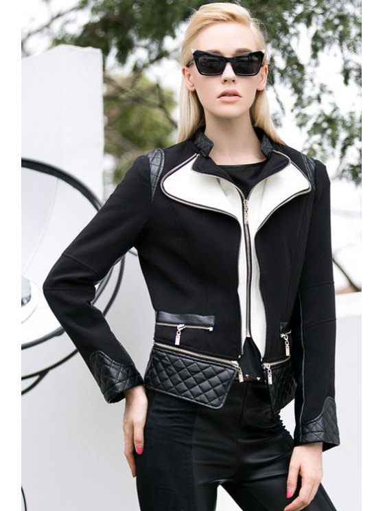 fashion PU Leather Splicing Color Block Jacket - BLACK S