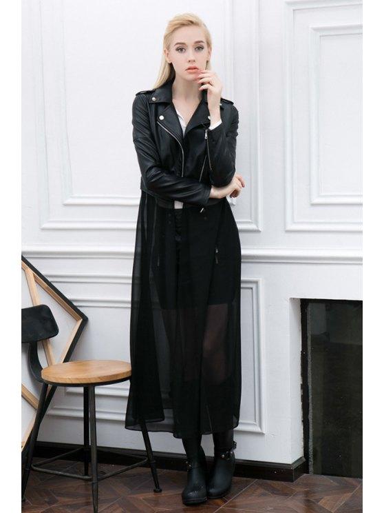 sale Black PU Leather Detachable Jacket - BLACK S