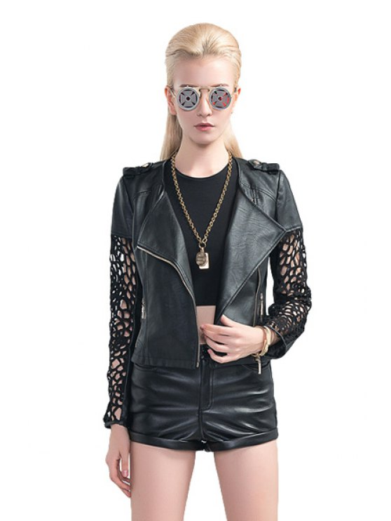 lady Hollow Splicing PU Leather Jacket - BLACK S