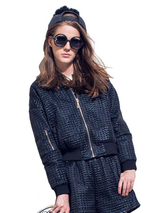 hot Stand Collar Black Jacket - BLACK S