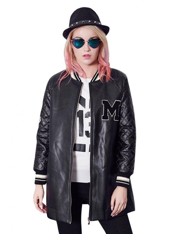 women Black PU Leather Long Sleeve Coat - BLACK S