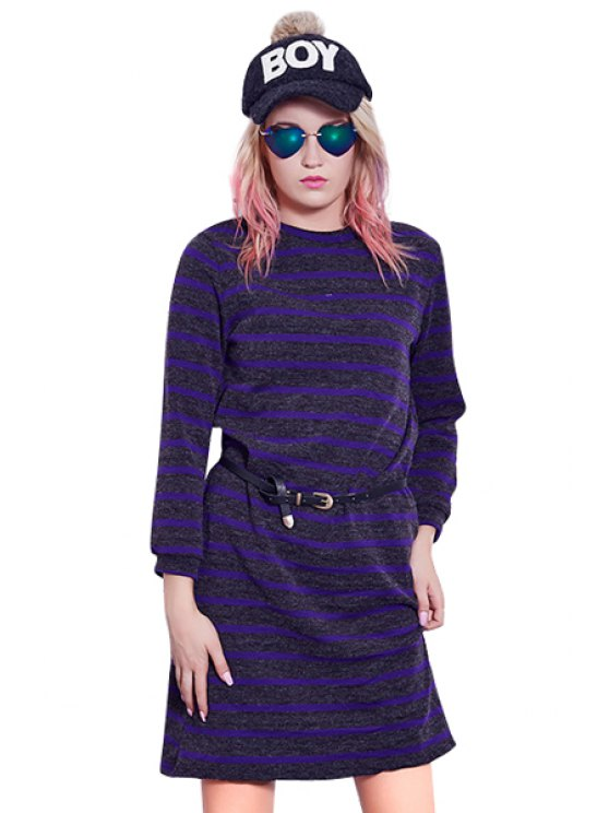 latest Long Sleeves Striped Sweater Dress - PURPLE ONE SIZE(FIT SIZE XS TO M)