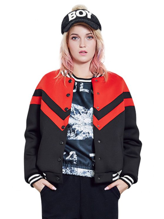 chic Jewel Neck Color Block Jacket - RED S