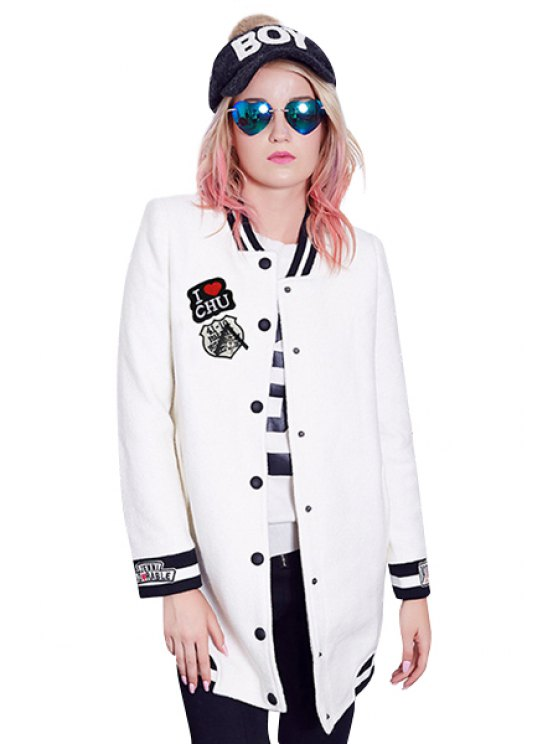 outfits Letter and Dog Embroidery Coat - OFF-WHITE M