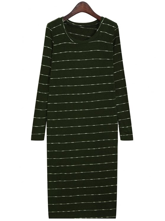 unique Scoop Neck Striped Sweater Dress - BLACKISH GREEN ONE SIZE(FIT SIZE XS TO M)