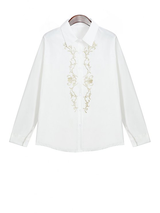 women's Long Sleeve Embroidery Shirt - WHITE ONE SIZE(FIT SIZE XS TO M)