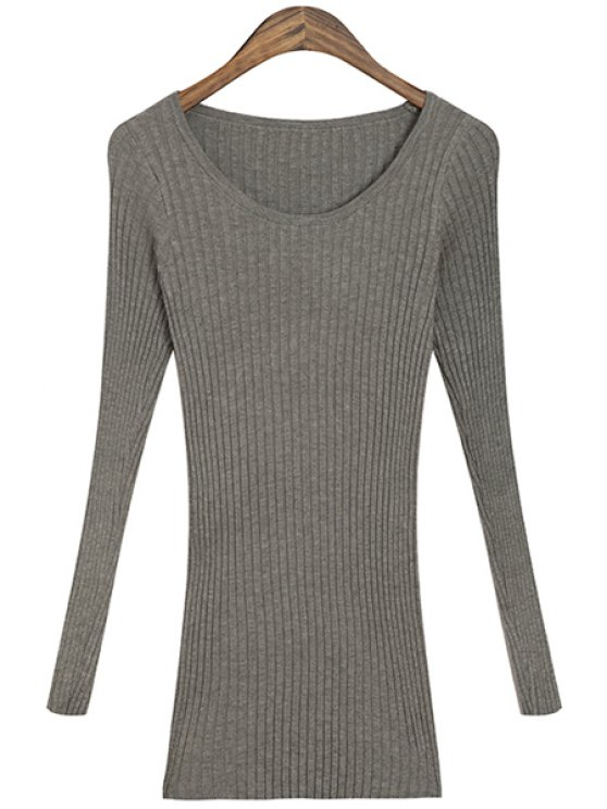shops Solid Color Scoop Collar Knitwear - GRAY ONE SIZE(FIT SIZE XS TO M)