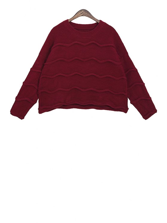 sale Wavy Pattern Long Sleeves Sweater - CLARET ONE SIZE(FIT SIZE XS TO M)